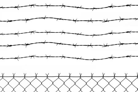 wired fence with five barbed wires Stock Photo - 2606636
