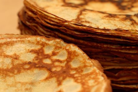 dollop: piles of pancakes Stock Photo