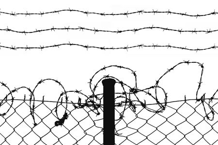 wired fence with five barbed wires Stock Photo