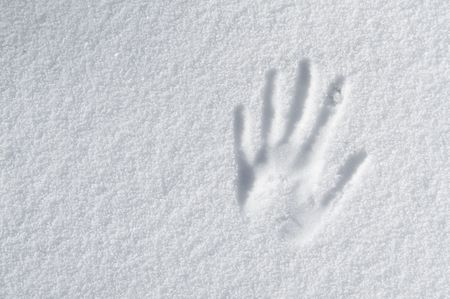 impression: hand impression in fresh snow