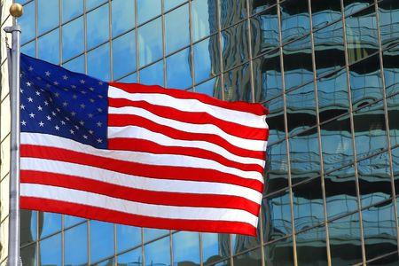 usa flag on windows building background photo