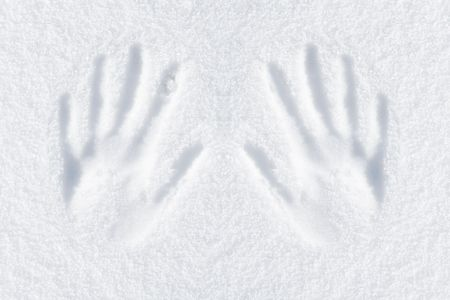 hands impression in fresh snow photo