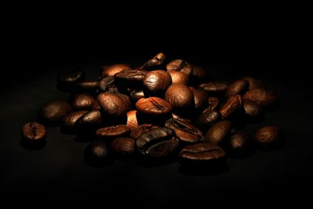 coffee beans on black background Stock Photo