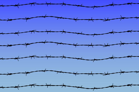 barbed wires on blue sky background Vector