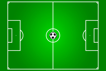 football field with ball in the centre Vector