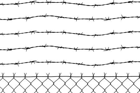 barbed wires: cable valla con cinco alambres de p�a