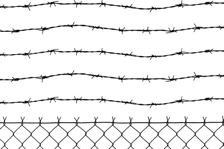 perimeter: wired fence with five barbed wires Illustration