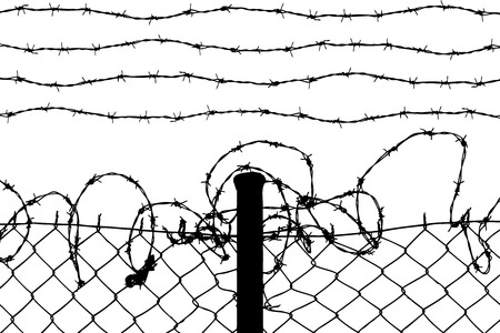 prison system: wired fence with barbed wires