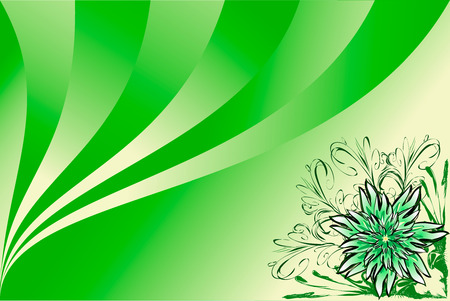 saturated: green background with flower Illustration