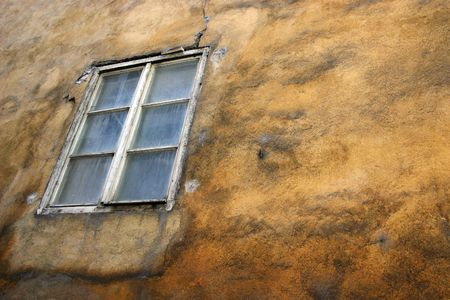 spotted wall with window on alleyway Stock Photo - 2950224