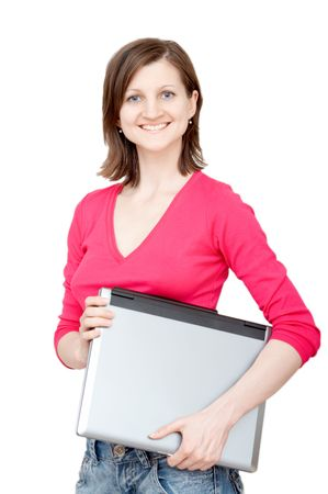 smiling woman holding laptop photo