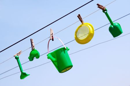 child's toys on the clothesline Stock Photo - 3534963