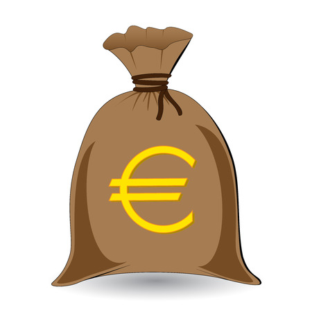 salaries: vector of full money sack of euros