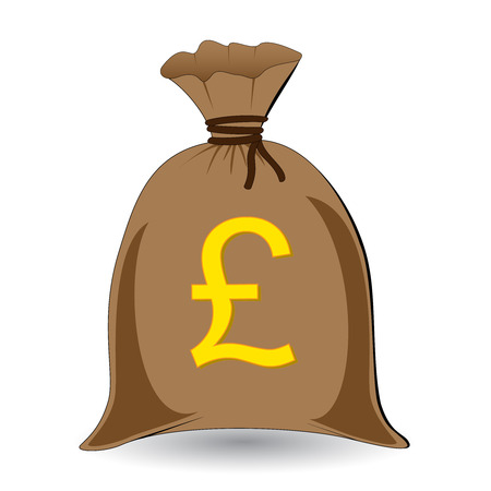 rope vector: vector of full money sack of pounds Illustration