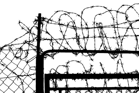 penitentiary: fence with barbed wires