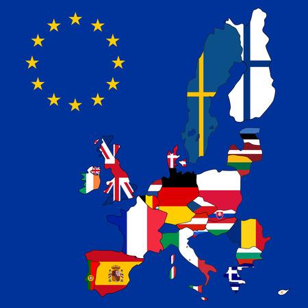 czech flag: Mappa di Unione europea con 27 bandiere