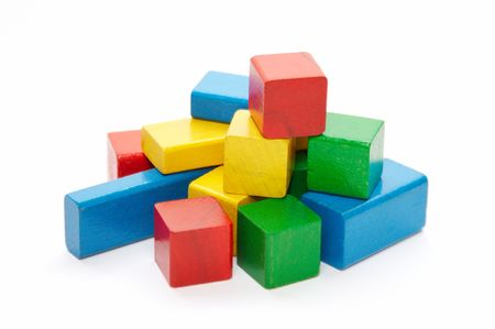 heap of color wooden bricks photo