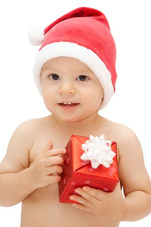 expressing: baby in santa claus cap with gift