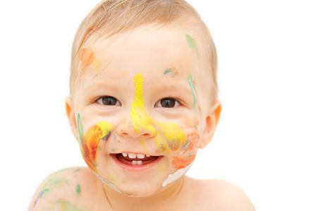 smudgy: painted baby face Stock Photo