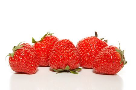 five strawberries ina row Stock Photo - 3825777