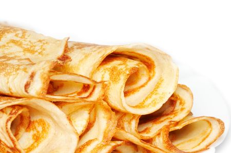carbohydrate: rolled pancakes Stock Photo