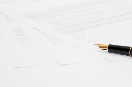 ink pen with three papers Stock Photo - 3955475