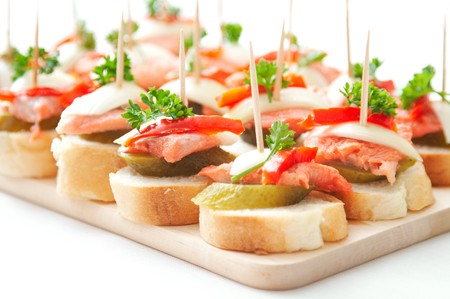 smoked: canapes with fish