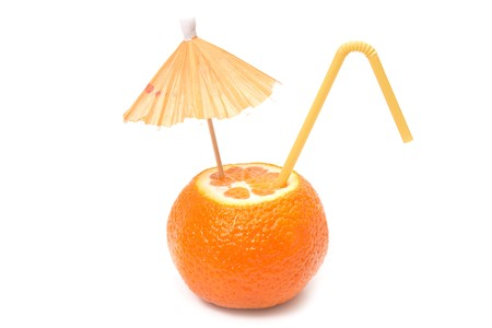 mandarin with umbrella and straw photo