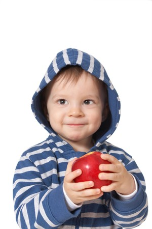 laughing baby: laughing baby with red apple