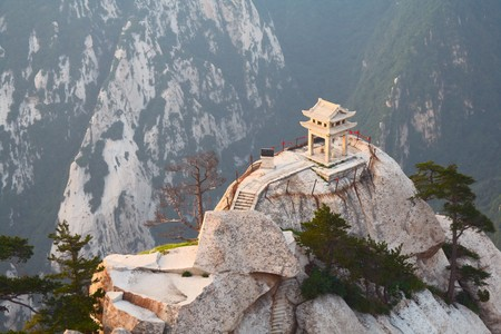stone pagoda on the East Peak of the holy mountain Huashan, Xian, China photo