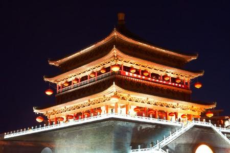 Drum tower at night, Xian, China photo