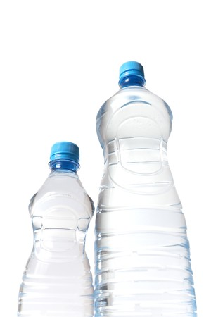 view on the water bottles from below Stock Photo - 4440457