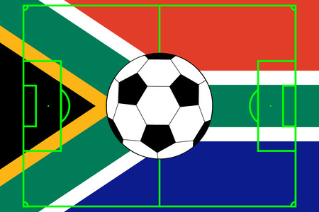 soccer ball with flag of South Africa Vector