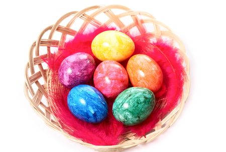easter eggs in a basket Stock Photo - 4642221