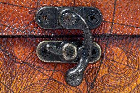 wooden lid: close up of chest lock Stock Photo