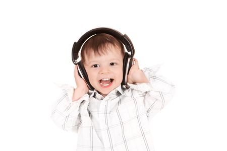 smiling baby with headphones photo