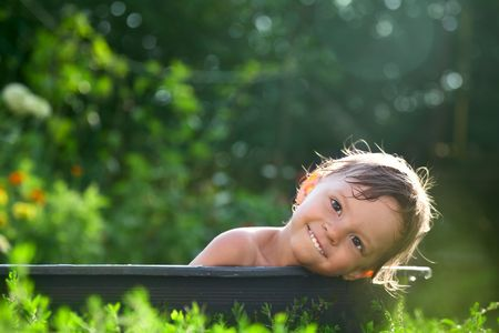 outdoor baby bathing photo