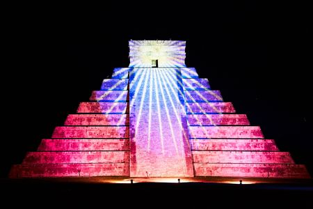 light show on Chichen Itza, Mexico, one of the New Seven Wonders of the World  photo