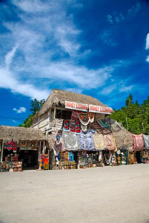mexican ethnicity: Market place at mayan ruins in Coba, Mexico