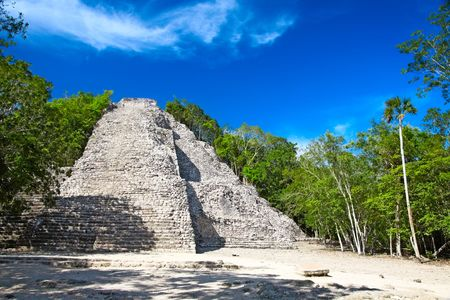 Mayan Nohoch Mul pyramid in Coba, Mexico  photo