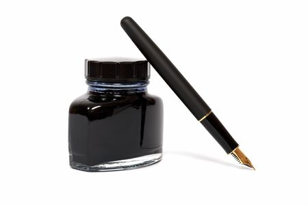 pot of gold: fountain pen with the ink bottle