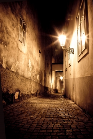 city alley: mysterious narrow alley Stock Photo