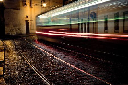 tram at night at Prague photo