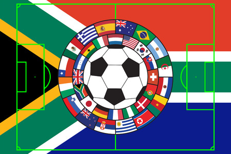 soccer ball with flags of all participants of WC 2010 in South Africa Vector