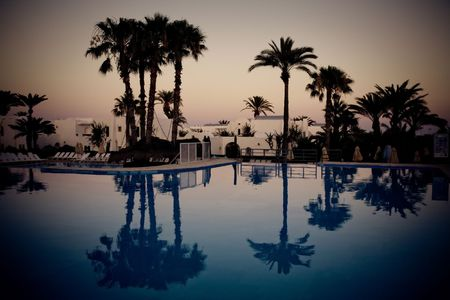 swimming pool at evening, Djerba, Tunisia photo