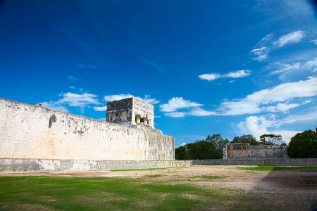 Great Ball Court for playing pok-ta-pok near Chichen Itza pyramid, Mexico photo