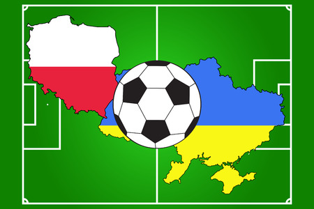 soccer ball with flags of Poland and Ukraine on soccer field background Vector