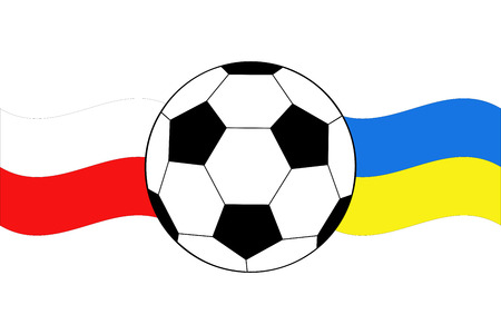 of soccer ball with waving flags of Poland and Ukraine Vector