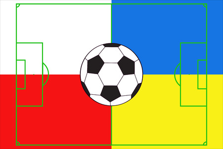 soccer ball with soccer field in colors of Poland and Ukraine Vector
