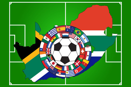 soccer ball with flags of all qualifiers of WC 2010 in South Africa Vector